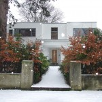 Front view of finished property in the snow