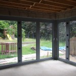Bi-fold doors fiited during build view from inside