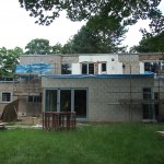 Rear of property showing building progress and installation of new aluminium windows