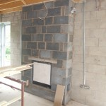 Block built chimney breast in lounge extension