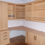Built in office furniture with corner unit, draws, cupboards & open shelve wall units