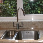 New sink & granite work tops in speckled brown
