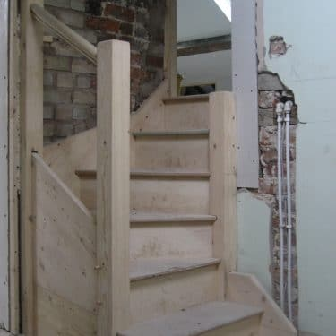 Newly formed stairs to new loft rooms